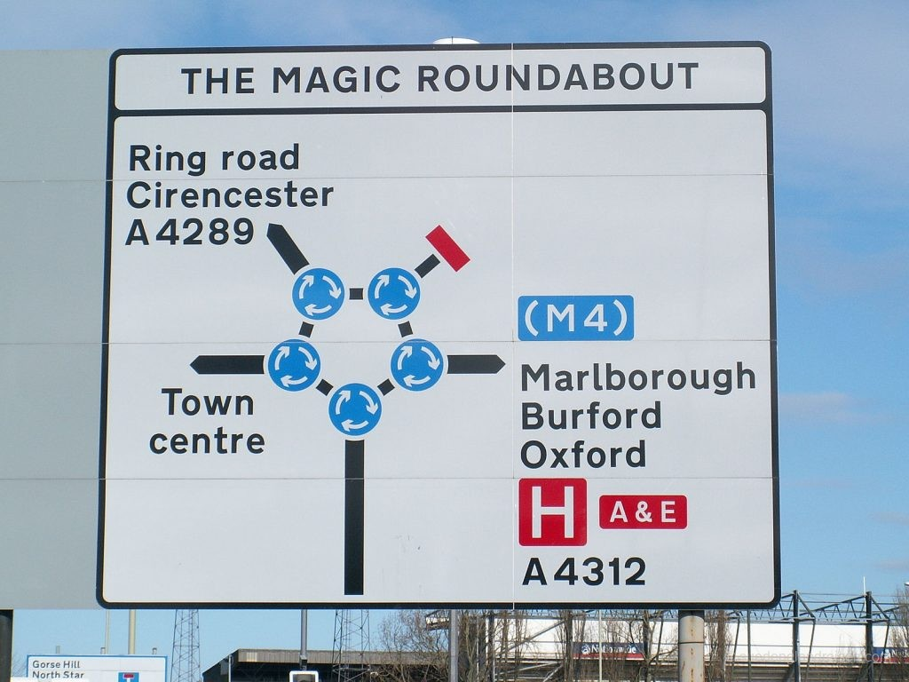 Schild vor dem Magic Roundabout (Quelle: Wikipedia)