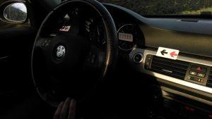 Thomas deutscher Firmenwagen präpariert für Linksverkehr und Meilen statt Kilometern.