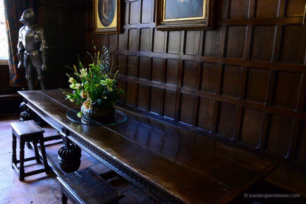 Im Inneren von Ightham Mote - ein Stilmix durch die Jahrhunderte, jedes Zimmer ist aus einer anderen Zeit.