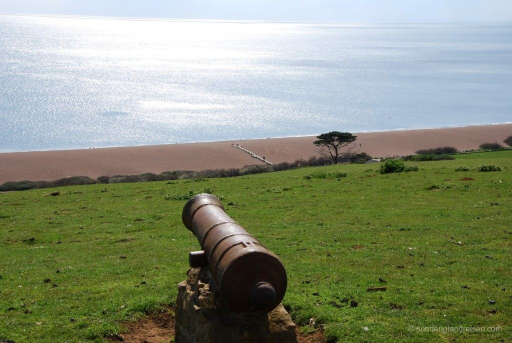 Blick vom Jurassic Coast View Point im Subtropical Garden in Abbotsbury