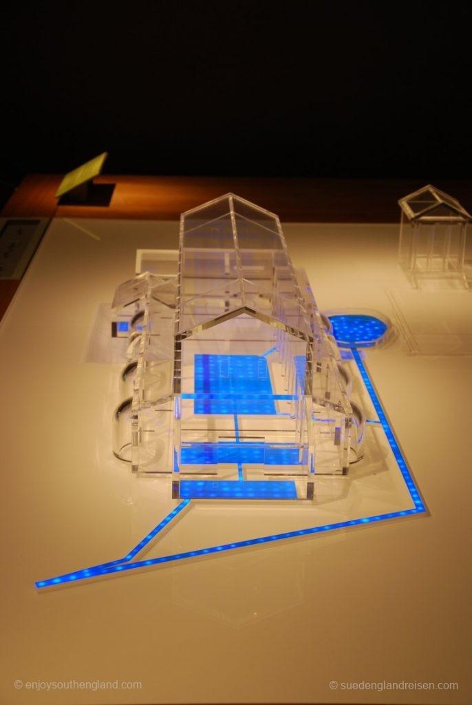 Modellhafte Darstellung des Wasserflusses in den Roman Baths in Bath