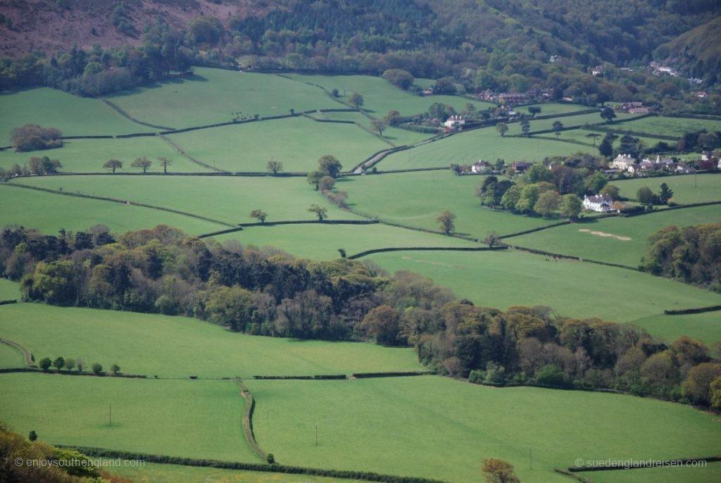 Blick vom Selworthy Beacon in die hier sehr liebliche Landschaft des Exmoors