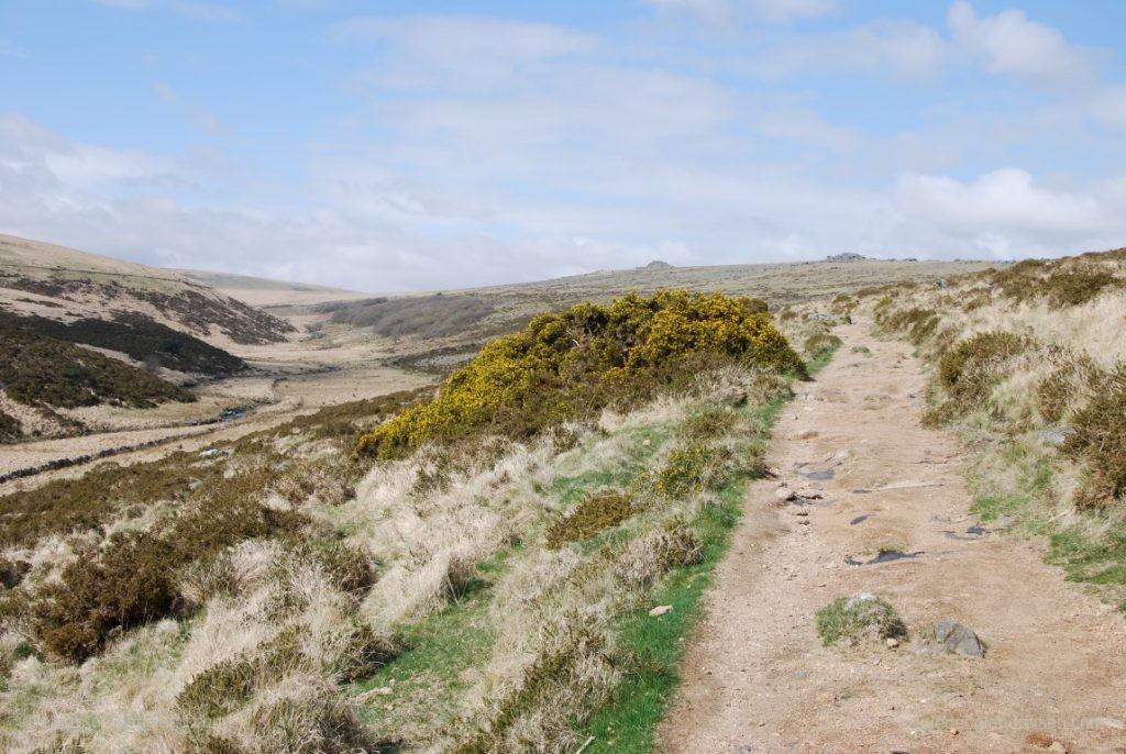 Dann öffnet sich der Blick in eine einsame Gegend des Dartmoor