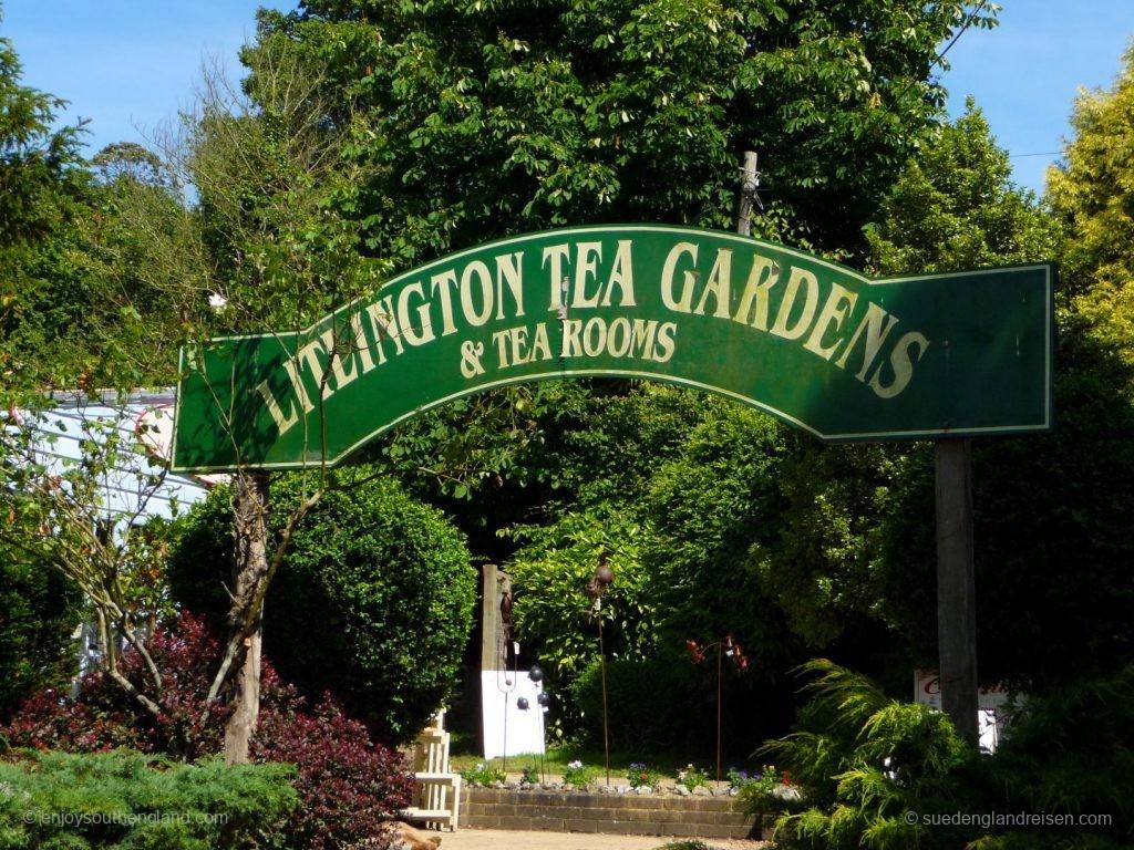 Eingang zum etwas versteckten Tea-Garden von Litlington