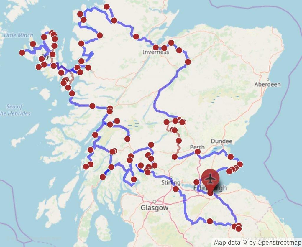 Tour durch Schottland als Karte