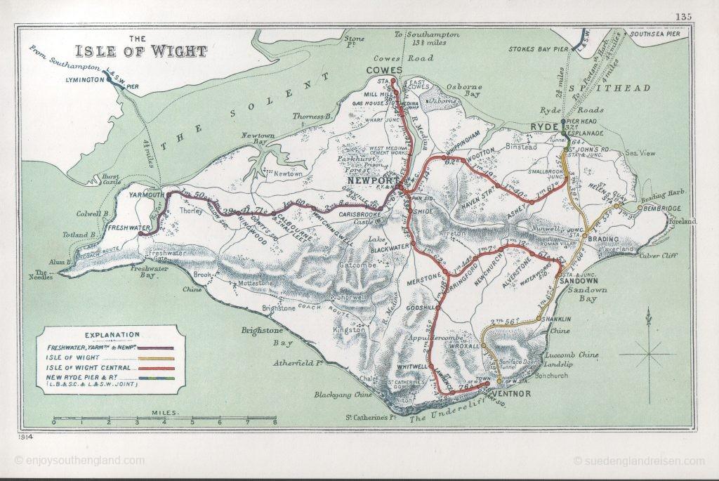IOW Island Line - das alte Liniennetz (Quelle Railways Clearing House via Wikipedia)