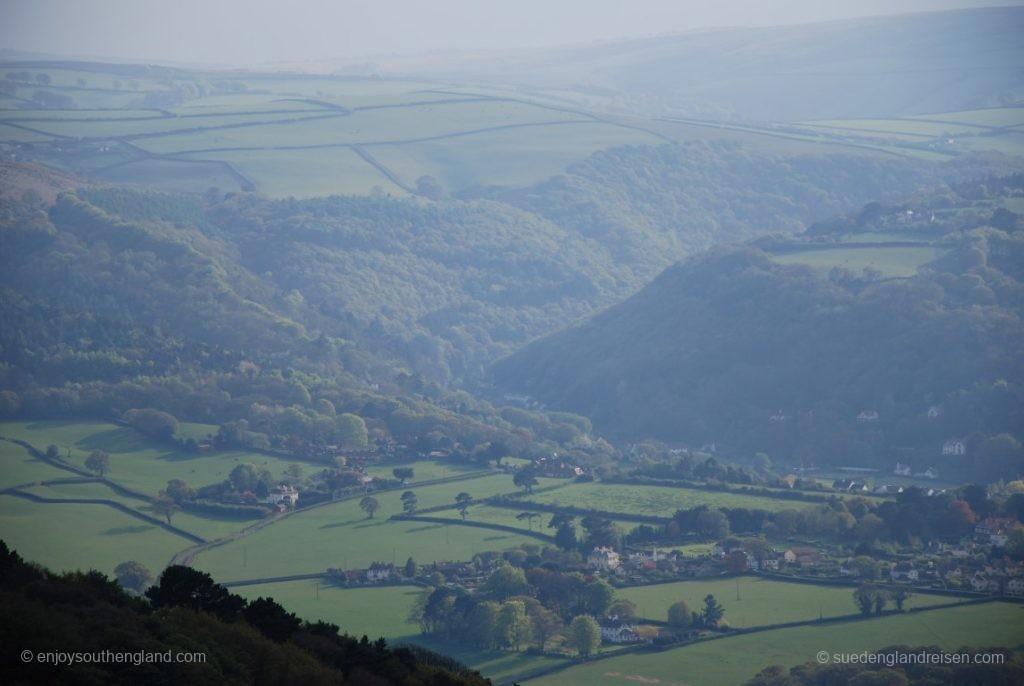 Blick vom Selworthy Beacon in die Hügellandschaft des Exmoors