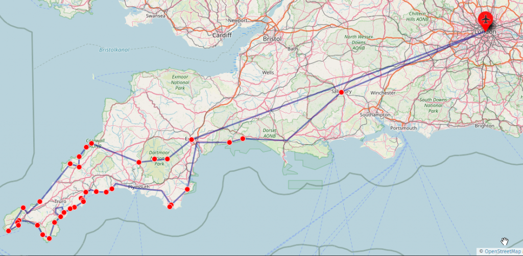Tiur durch Cornwall (Karte)